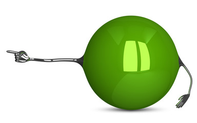 Green sphere character showing direction