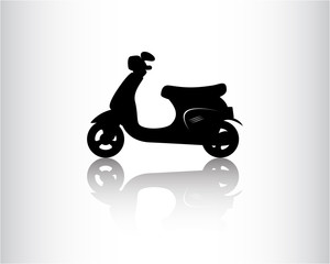 Scooter black icon, vector illustration