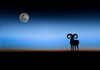 a sheep in the moon sky background.