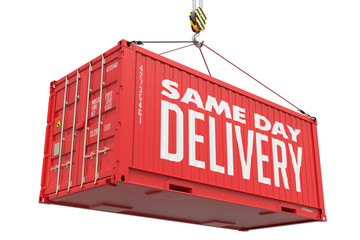 Same Day Delivery - Red Hanging Cargo Container.