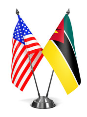 USA and Mozambique - Miniature Flags.