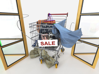 sale concept background with shopping trolley on isolate white