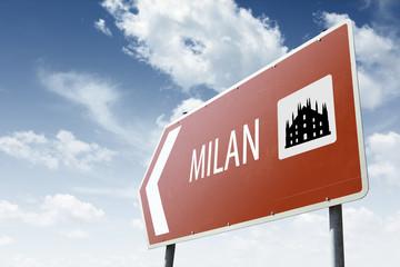 Milan direction. Brown road sign.