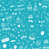 Fototapety Happy birthday seamless hand drawn background