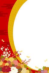 満開の花と和風背景