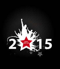 New year 2015 in black background. Abstract poster