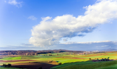 landscape with acre and blue sky at Ronneburg, Hesse