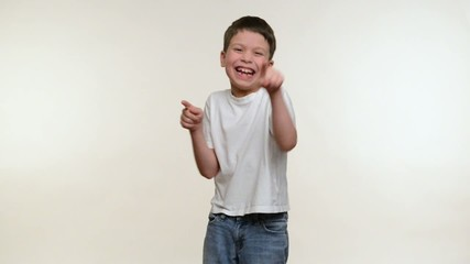 Boy applauds. White background
