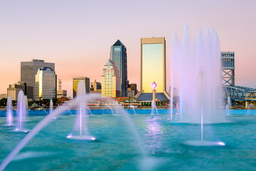 Jacksonville, Florida, USA Fountain Skyline
