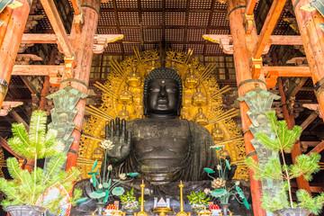 The Great Buddha at Todai-ji temple in Nara, Japan.