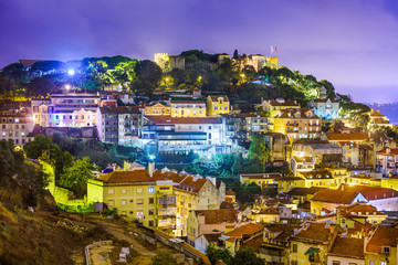 Lisbon, Portugal cityscape and hillside of Sao Jorge Castle.