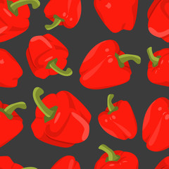 Seamless background with red peppers  in flat design