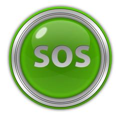 SOS circular icon on white background
