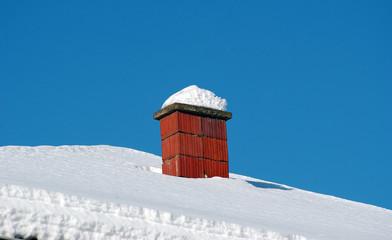 Rooftop Chimney Under Snow