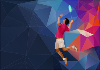 Geometric polygonal professional badminton player