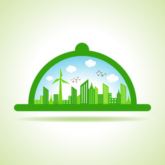 Ecology Concept - eco cityscape with platter stock vector