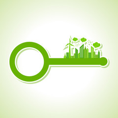 Ecology Concept - eco cityscape with key stock vector