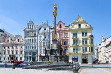 historic houses, Plague column, Plzen, Czech republic