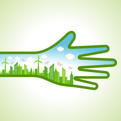 Ecology Concept - eco cityscape with hand stock vector