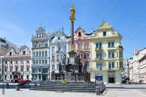 historic houses, Plague column, Plzen, Czech republic - 76209974
