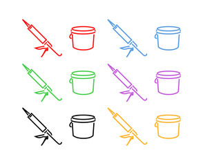Icon Set of Sealer and Bucket
