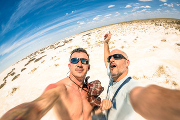 Hipster best  friends taking a selfie at Etosha national park