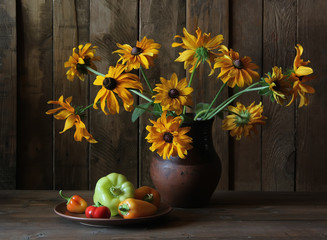 Цветы и перцы