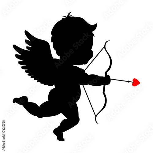 Silhouette of cupid shooting his bowpid - 76210528