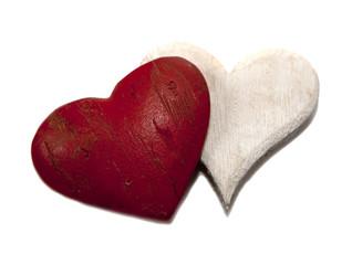 deux coeurs blanc et rouge