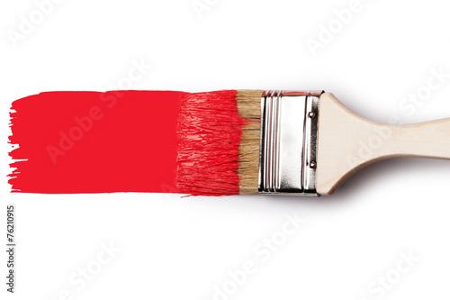 Leinwanddruck Bild Paintbrush with red paint