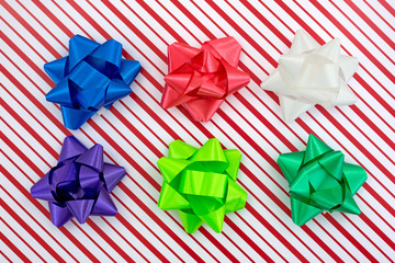 Close view of a Christmas box with assorted bows