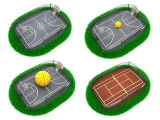 Set Sport Concepts. 3d Miniature.