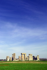Stonehenge over the blue sky taken in Wiltshire, England
