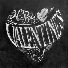 Valentine's Day hand lettering on chalkboard