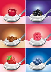 Spoon of different fruit with yoghurt