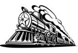 Fototapety retro locomotive with smoke black and white, icon, railroad, vec