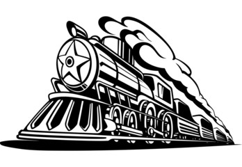 retro locomotive with smoke black and white, icon, railroad, vec