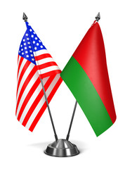 USA and Belarus - Miniature Flags.