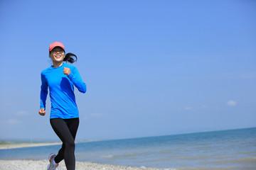 Runner athlete running on highland