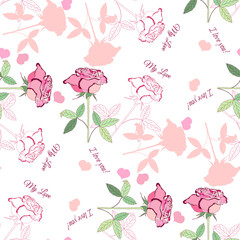 Seamless pattern with pink rose1-04
