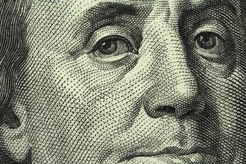 banknote hundred US dollars close-up