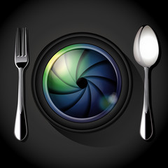 Vector of Camera lens with fork and spoon, table setting. Food P