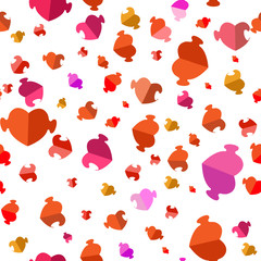 Seamless pattern with hearts of puzzles. Flat design