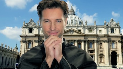 young catholic priest in vatican city
