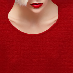 glamorous blonde with red lipstick. trend red color