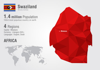Swaziland world map with a pixel diamond texture.