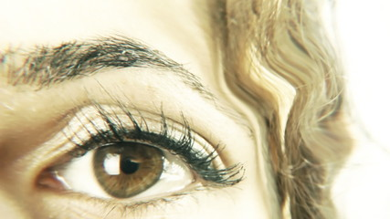 Vintage girl eye fear hand violence distorted