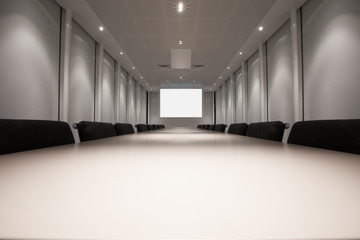 Empty meeting room ready for presentation