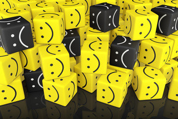 Stack Cubes with Smiley Face