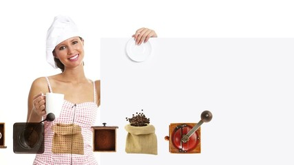 chef woman showing indicate billboard with cup, coffee promotion